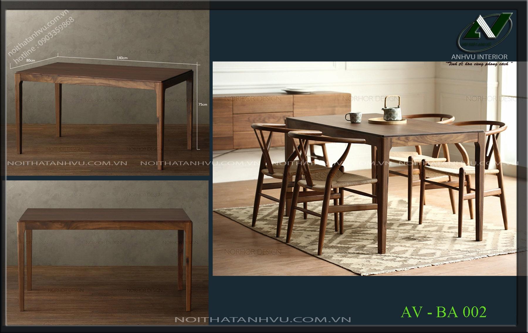 Bộ bàn ghế ăn gỗ óc chó bền đẹp - Nội thất Anh Vũ