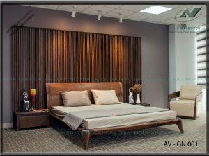Giường ngủ gỗ óc chó đẹp - Nội thất Anh Vũ