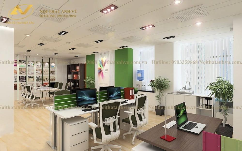 Thiết kế nội thất văn phòng trẻ trung - Nội thất Anh Vũ