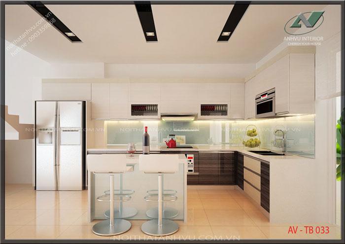 Mẫu tủ bếp đẹp cho nhà phố - Nội thất Anh Vũ