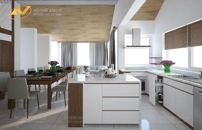 Thiết kế nội thất phòng bếp biệt thự đẹp ecopark - nội thất Anh Vũ