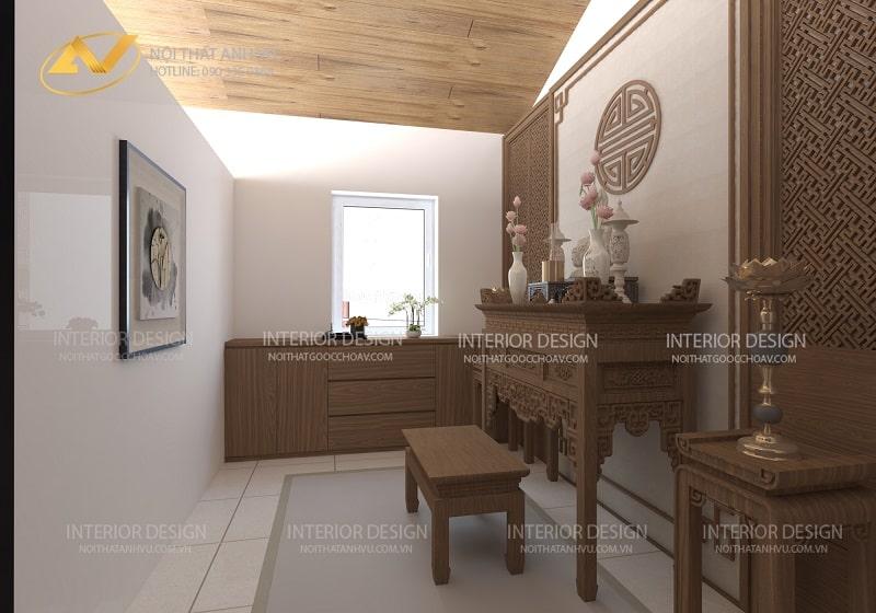 Thiết kế nội thất phòng thờ biệt thự đẹp ecopark - nội thất Anh Vũ