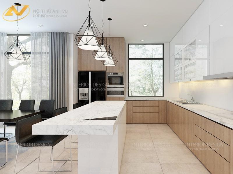Thiết kế nội thất phòng bếp biệt thự sang trọng -Nội thất Anh Vũ