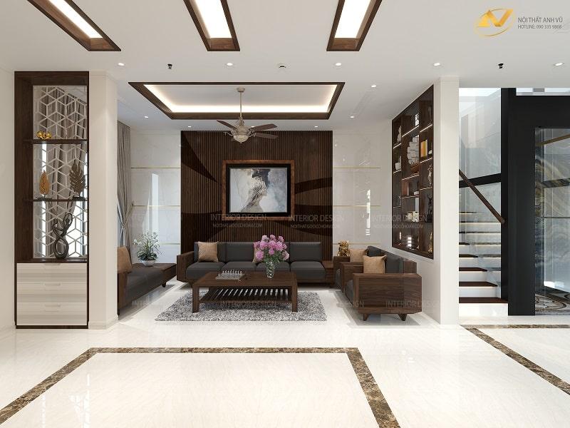 Thiết kế nội thất phòng khách biệt thự đẹp - Nội thất Anh Vũ