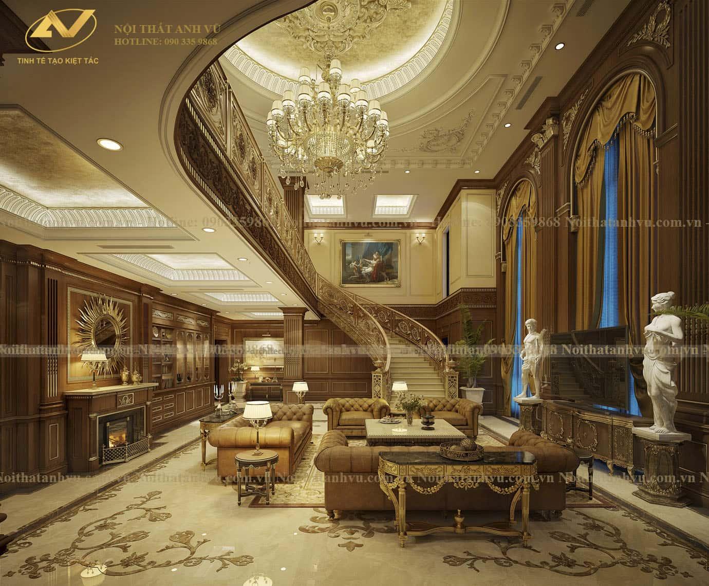 Thiết kế nội thất biệt thự cổ điển - Nội thất Anh Vũ