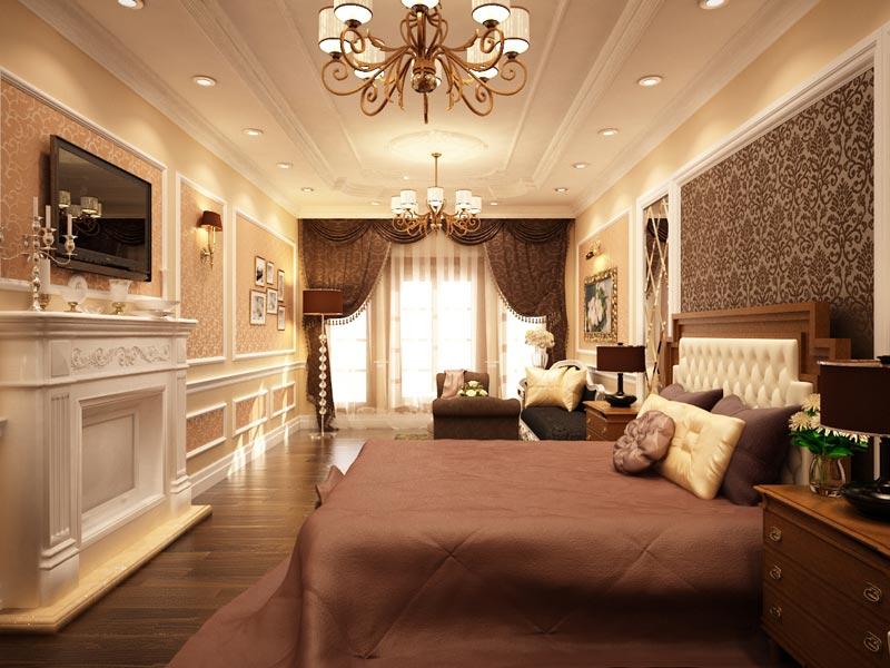 Thiết kế nội thất phòng ngủ cổ điển - Nội thất Anh Vũ