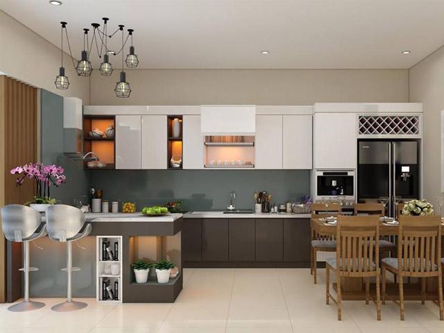 Thiết kế nhà bếp theo phong thủy nhà biệt thự đặt ở hướng Tây hoặc Tây Bắc