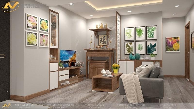 Thiết kế nội thất chung cư hiện đại Mr Kiên - Nội thất Anh Vũ