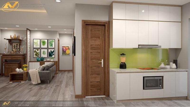 Thiết kế nội thất phòng bếp chung cư hiện đại Mr Kiên - Nội thất Anh Vũ