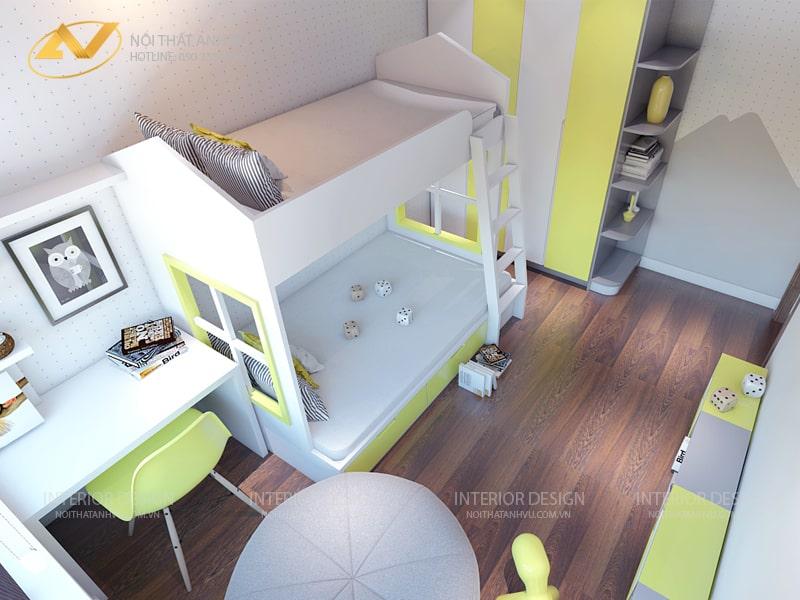 Thiết kế nội thất phòng ngủ chung cư hiện đại Mr Kiên - Nội thất Anh Vũ
