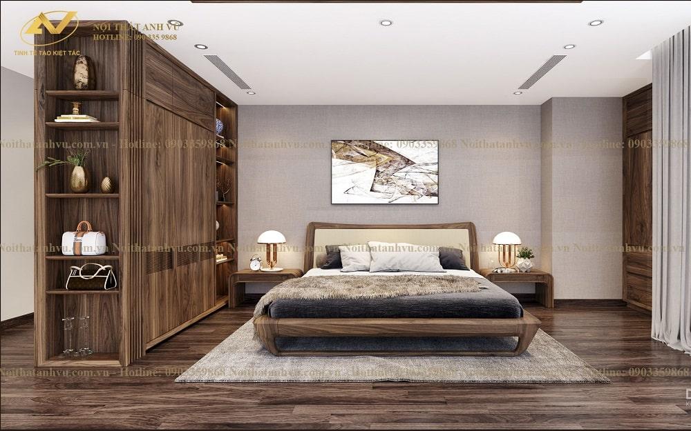Nội thất phòng ngủ gỗ óc chó - Nội thất Anh Vũ