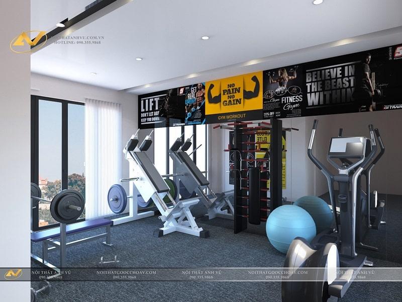 Thiết kế nội thất phòng gym biệt thự hiện đại - Nội thất Anh Vũ