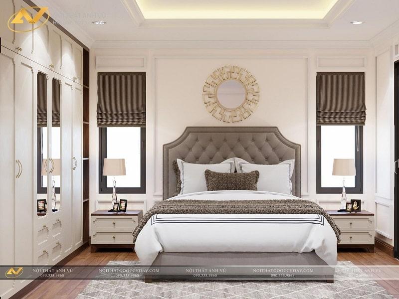 Thiết kế nội thất phòng ngủ biệt thự hiện đại - Nội thất Anh Vũ