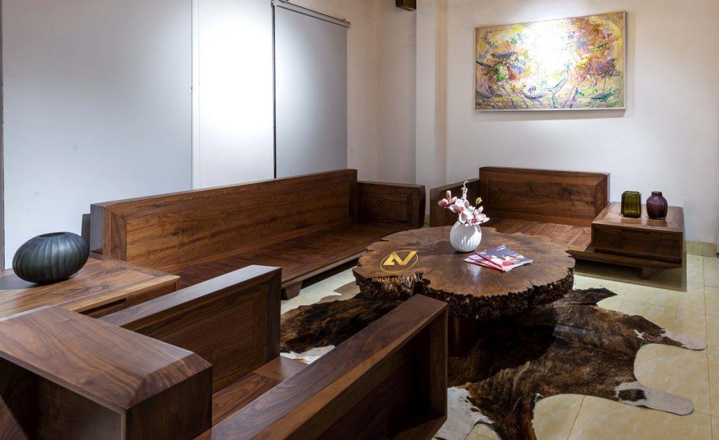 Bộ bàn ghế gỗ óc chó cao cấp - Nội thất Anh vũ