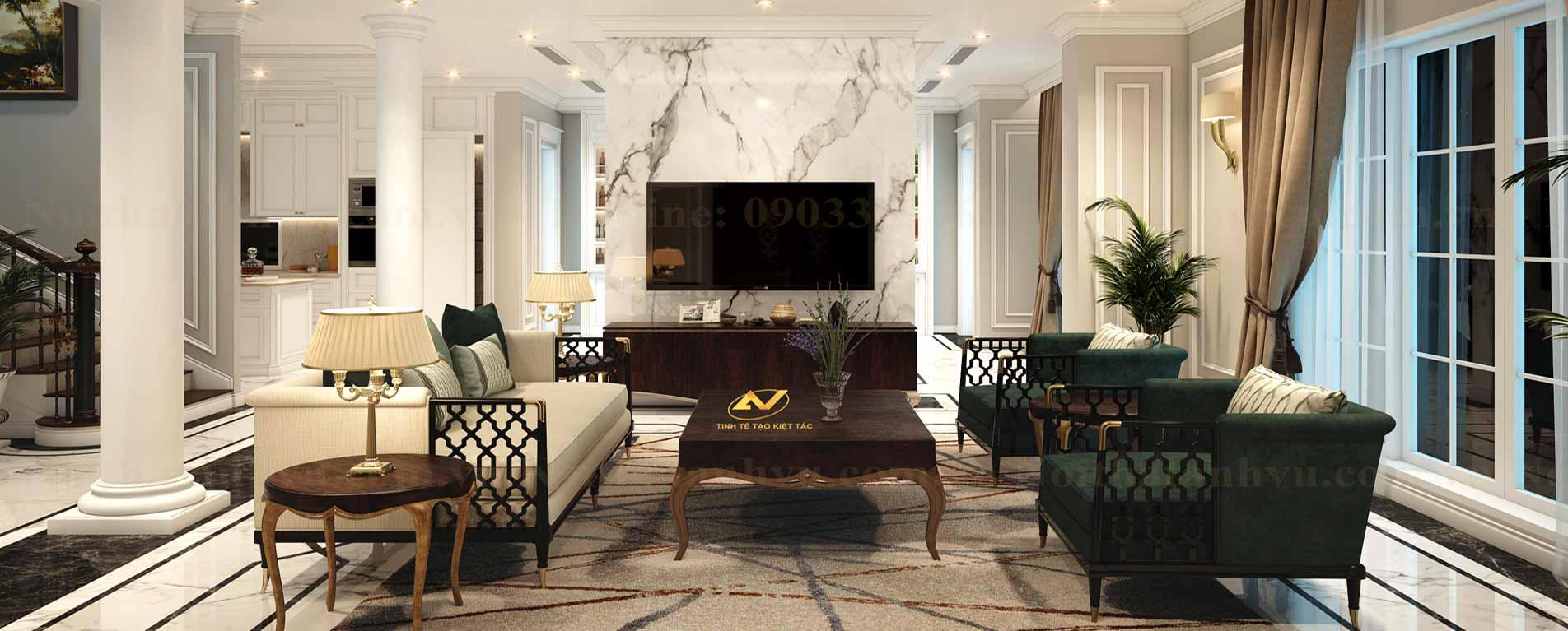Thiết kế nội thất phòng khách sang trọng - Nội thất Anh Vũ