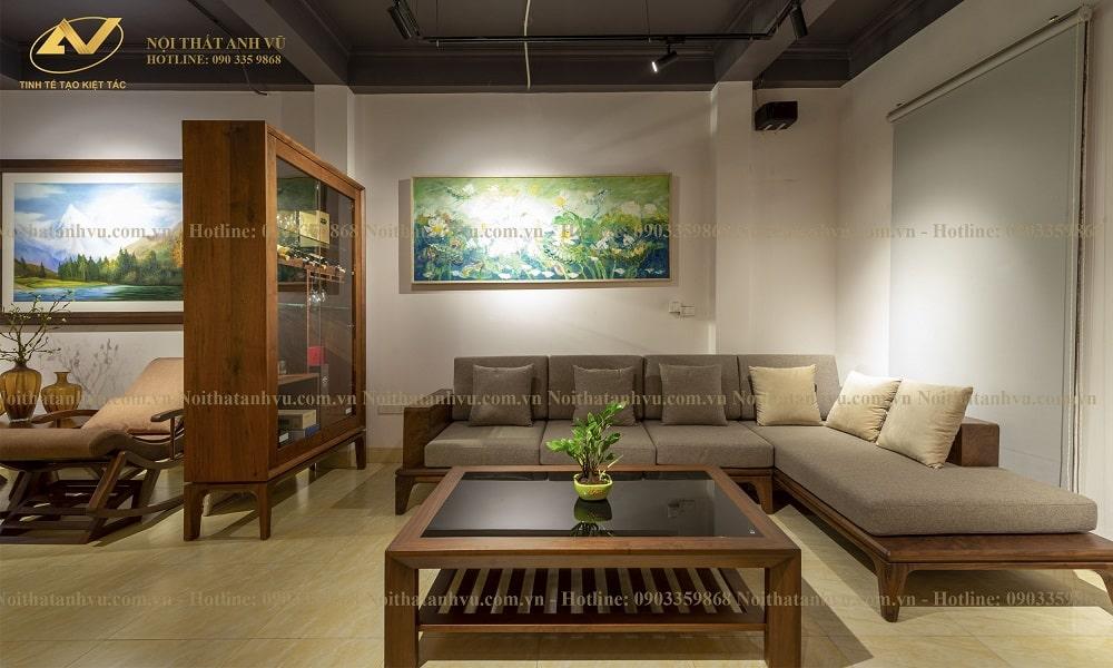 Ghế sofa gỗ óc chó sang trọng - Nội thất Anh Vũ