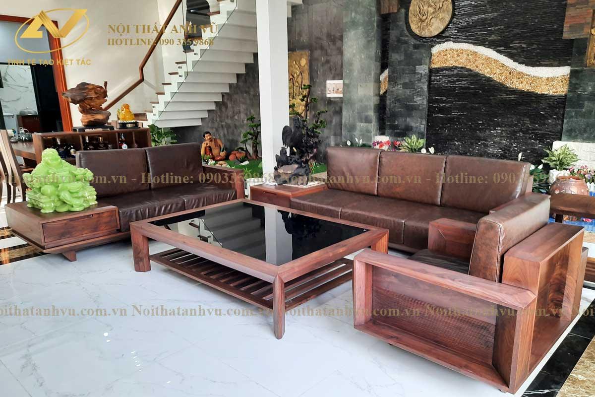 Mẫu ghế sofa gỗ óc chó cao cấp đẹp - Nội thất Anh Vũ
