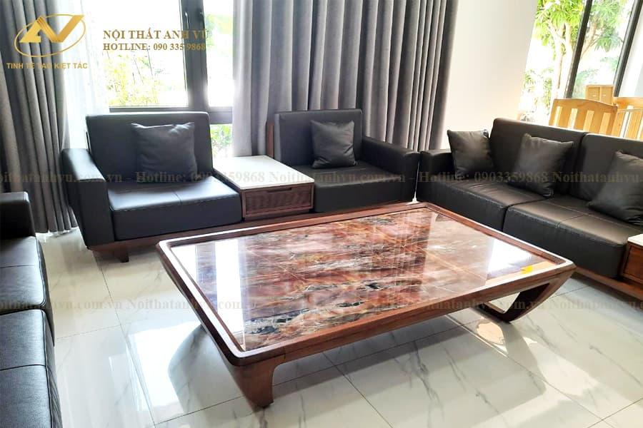 Mẫu ghế sofa gỗ óc chó đẹp AV-SF 004 - Nội thất Anh Vũ