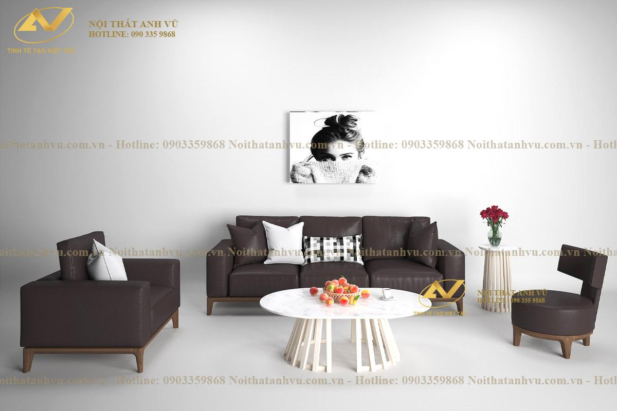 Mẫu ghế sofa gỗ óc chó phòng khách đẹp AV-SF 888 - Nội thất Anh Vũ