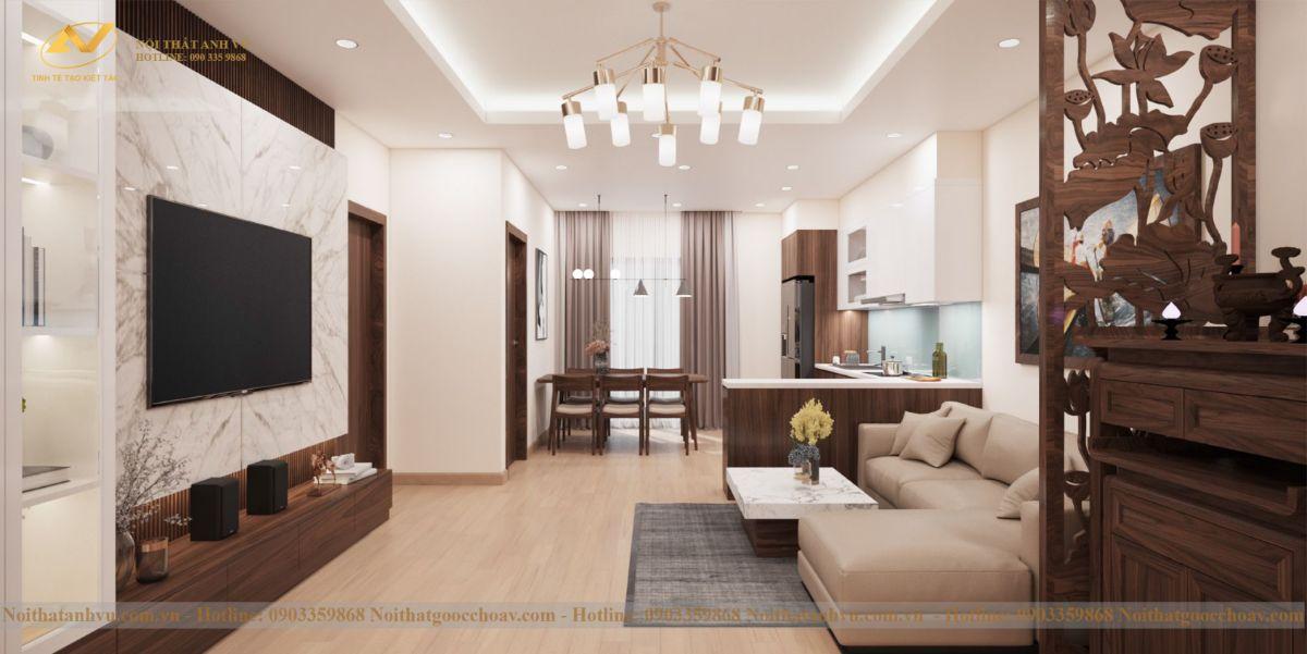 Mẫu thiết kế phòng khách căn hộ chung cư số 6