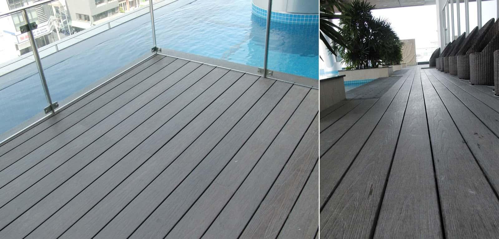 Sàn gỗ nhựa ứng dụng trong bể bơi sang trọng