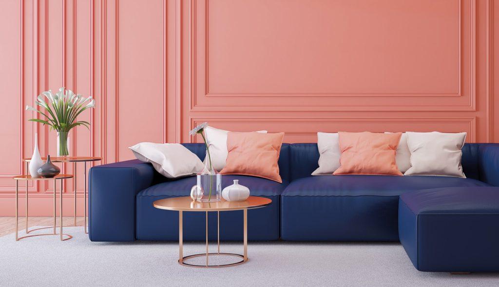 Xu hướng nội thất sử dụng màu Living coral