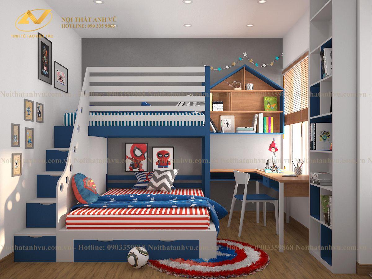thiết kế nội thất chung cư 2 phòng ngủ Anh Trung Homeland 11
