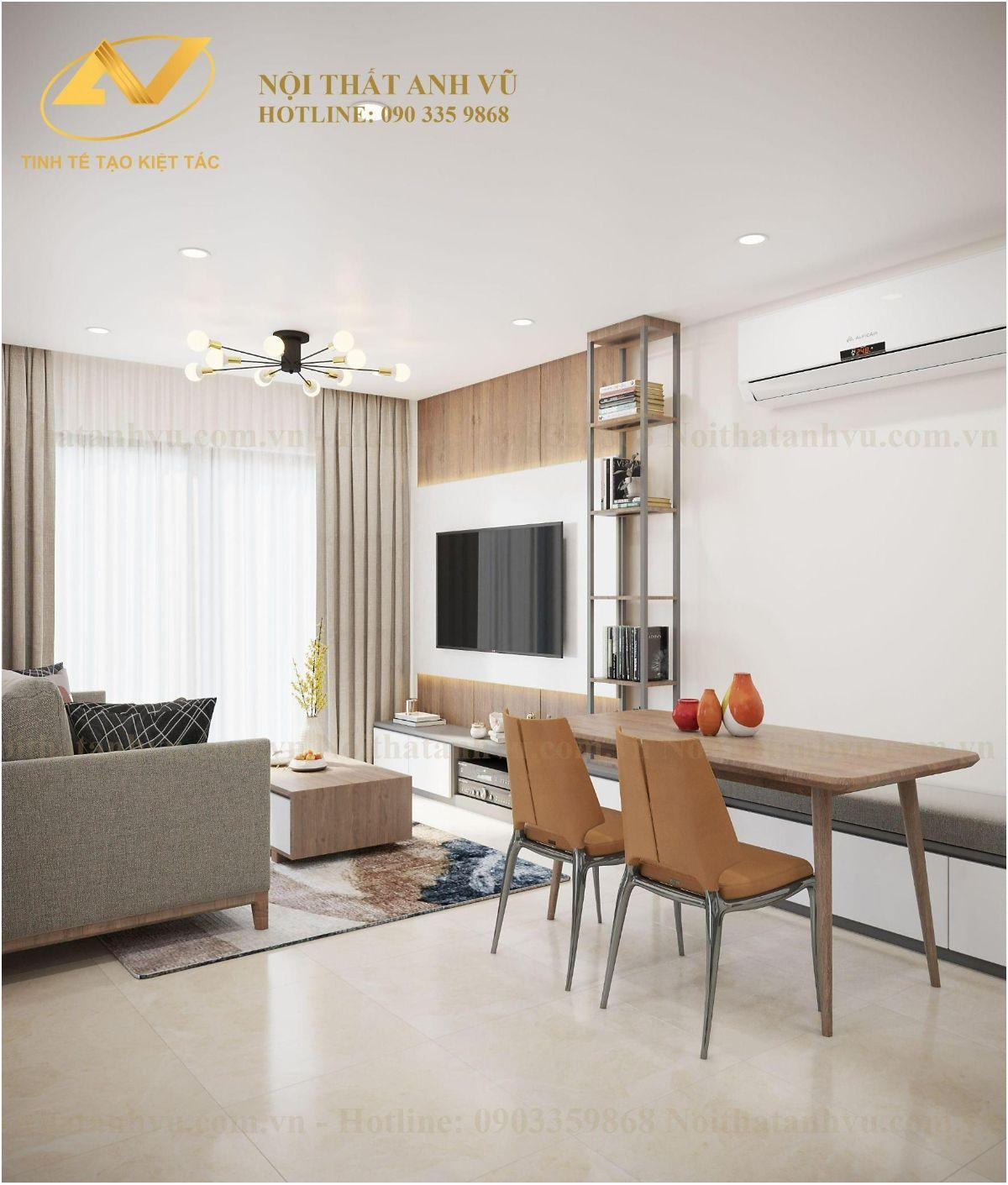 Thiết kế nội thất chung cư 2 phòng ngủ Chị Lê Vinhome Smart City Tây Mỗ 2
