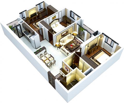 Hình ảnh mặt bằng cắt mái nội thất chung cư 150m2