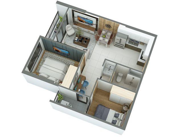 Hình ảnh mặt bằng mẫu thiết kế nội thất chung cư 55m2
