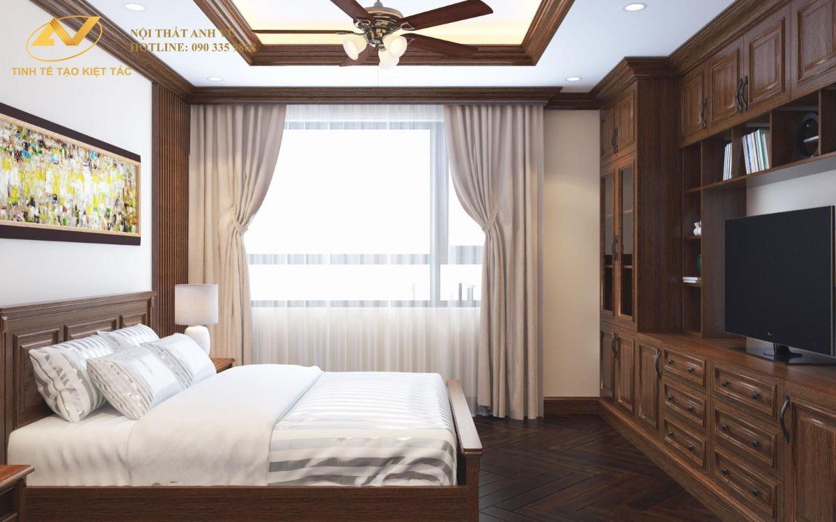 Phòng ngủ master chung cư anh Cường 120m2 885 Tam Trinh 4