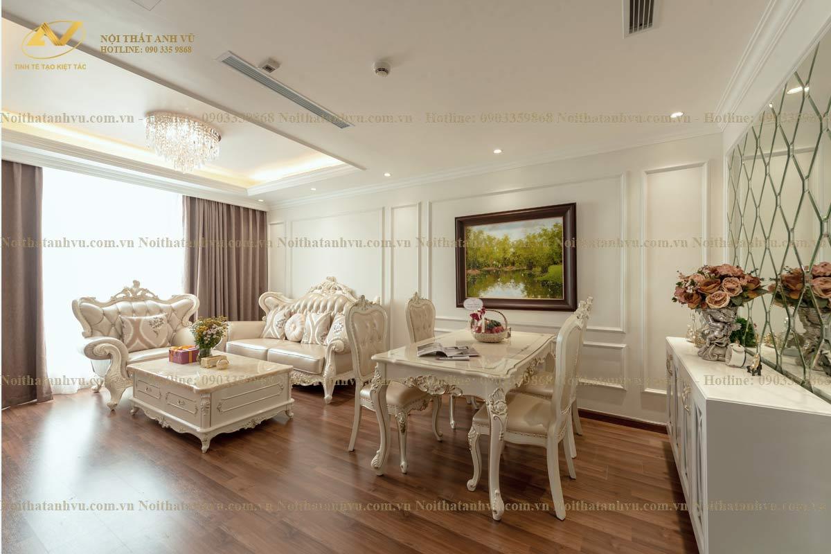 Thi công nội thất chung cư tân cổ điển Mr Hưng The Golden Amor - Gỗ óc chó Anh Vũ