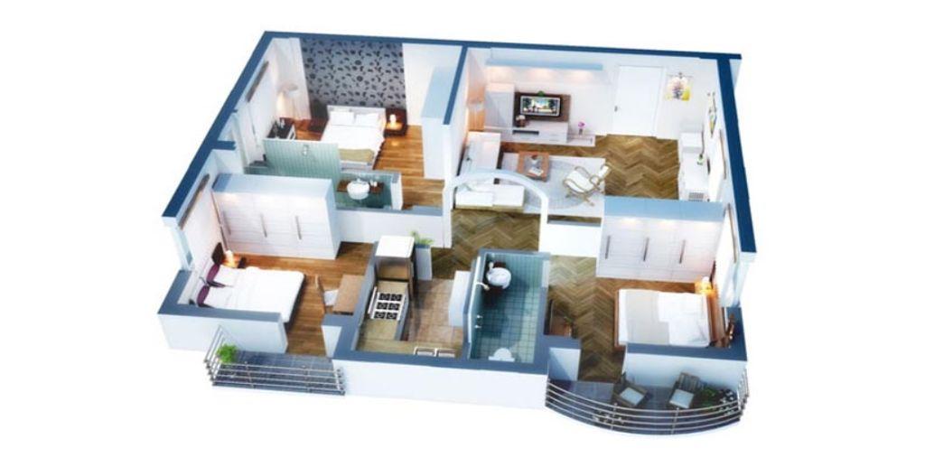 Thiết kế căn hộ chung cư 3 phòng ngủ hiện đại với màu nâu gỗ