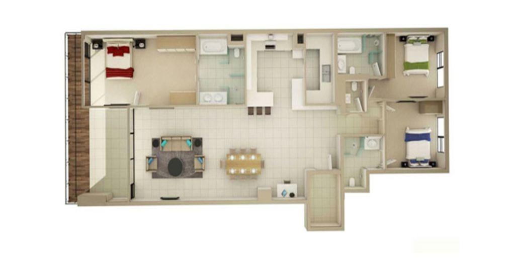 Thiết kế chung cư 3 phòng ngủ nội thất giản đơn, sang trọng