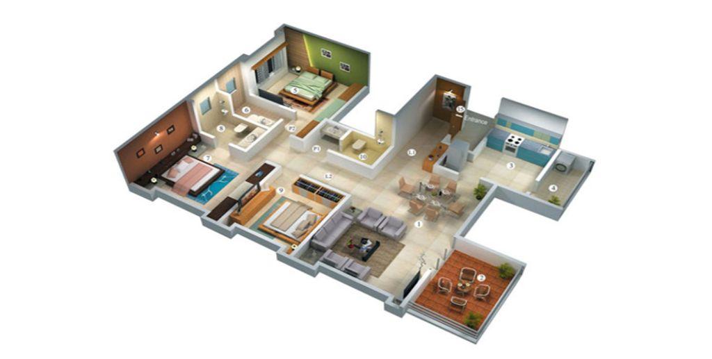 Thiết kế căn hộ kết hợp màu sắc độc đáo