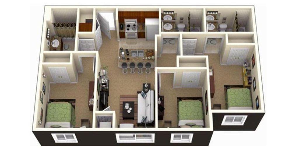Thiết kế chung cư 3 phòng ngủ thông minh