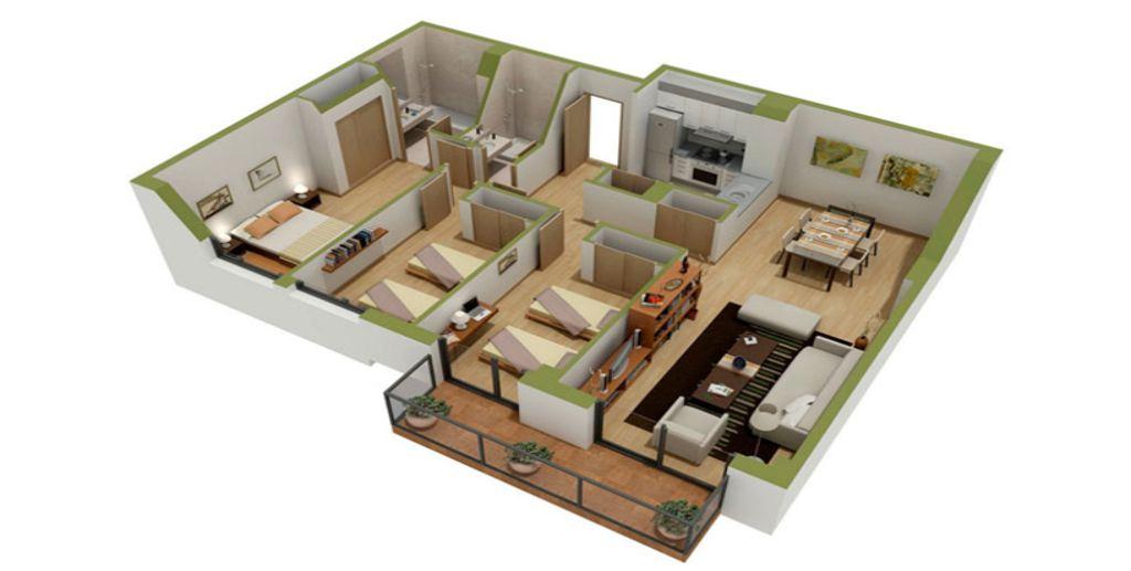 Thiết kế căn hộ tiện nghi cho gia đình đông người