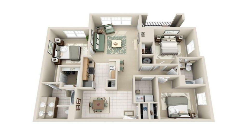 Thiết kế nội thất chung cư 3 phòng ngủ thoáng mát