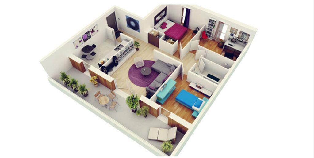 Thiết kế chung cư 3 phòng ngủ hiện đại
