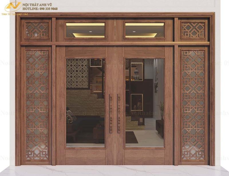 Thiết kế cửa gỗ gia đình chị Ánh 1