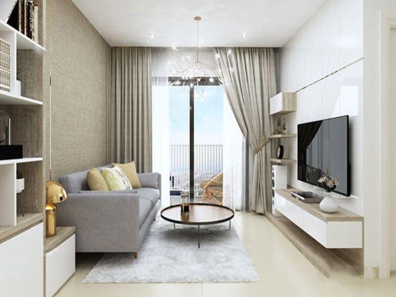 Thiết kế nội thất phòng khách căn hộ 2 phòng ngủ theo hướng hiện đại và tiện nghi