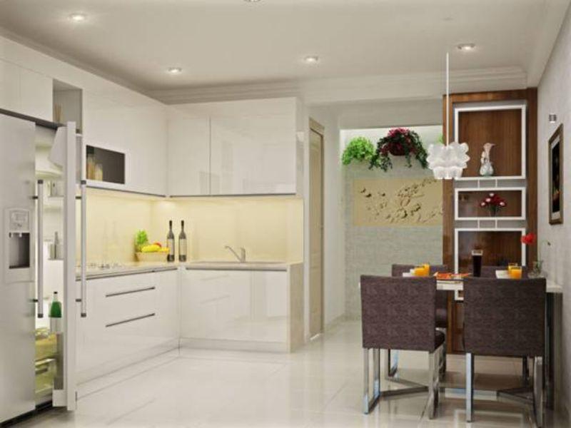 Thiết kế nội thất phòng bếp căn hộ 2 phòng ngủ theo hướng mở