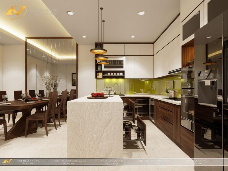 Bài trí nội thất phòng bếp cho căn hộ chung cư 2 phòng ngủ