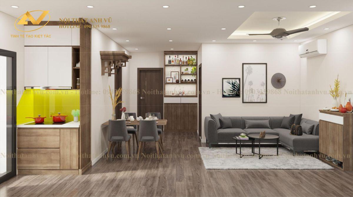 Thiết kế nội thất chung cư Anh Kiên Eurowindown 4