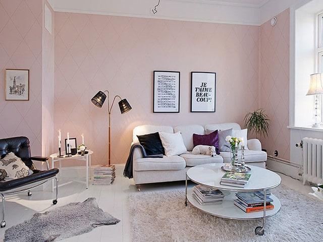 Màu trắng kem phối hồng pastel