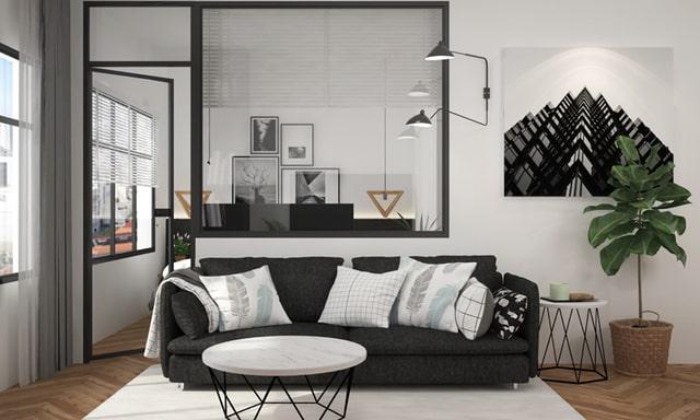 sơn phòng khách màu đen trắng