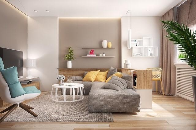 sơn phòng khách màu đơn sắc