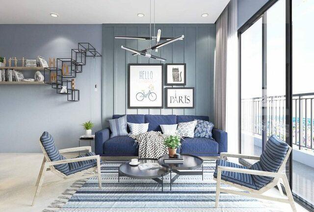 sơn phòng khách màu xanh đậm