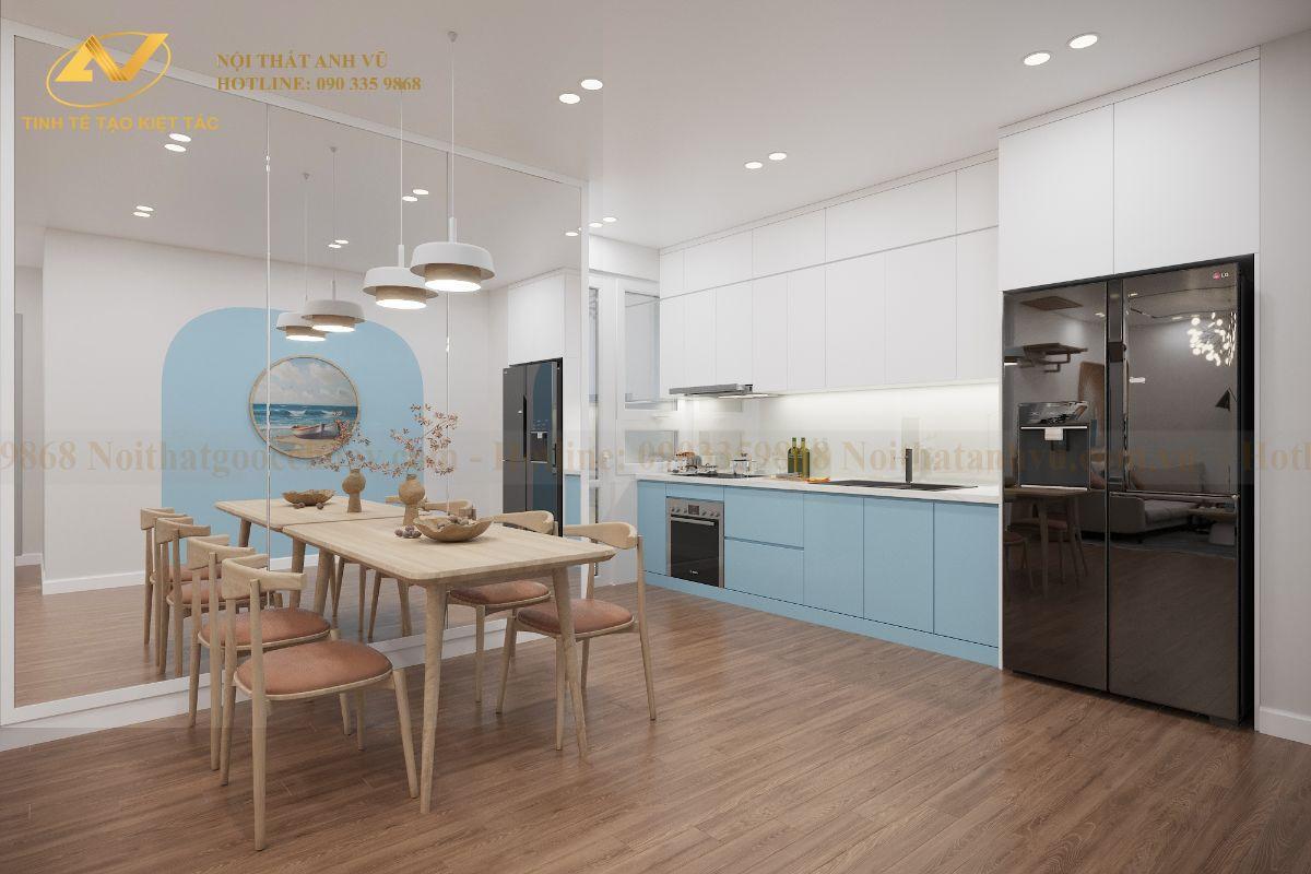 Thiết kế nội thất chung cư 68m2 Anh Cường K35 Tân Mai phong ăn 1