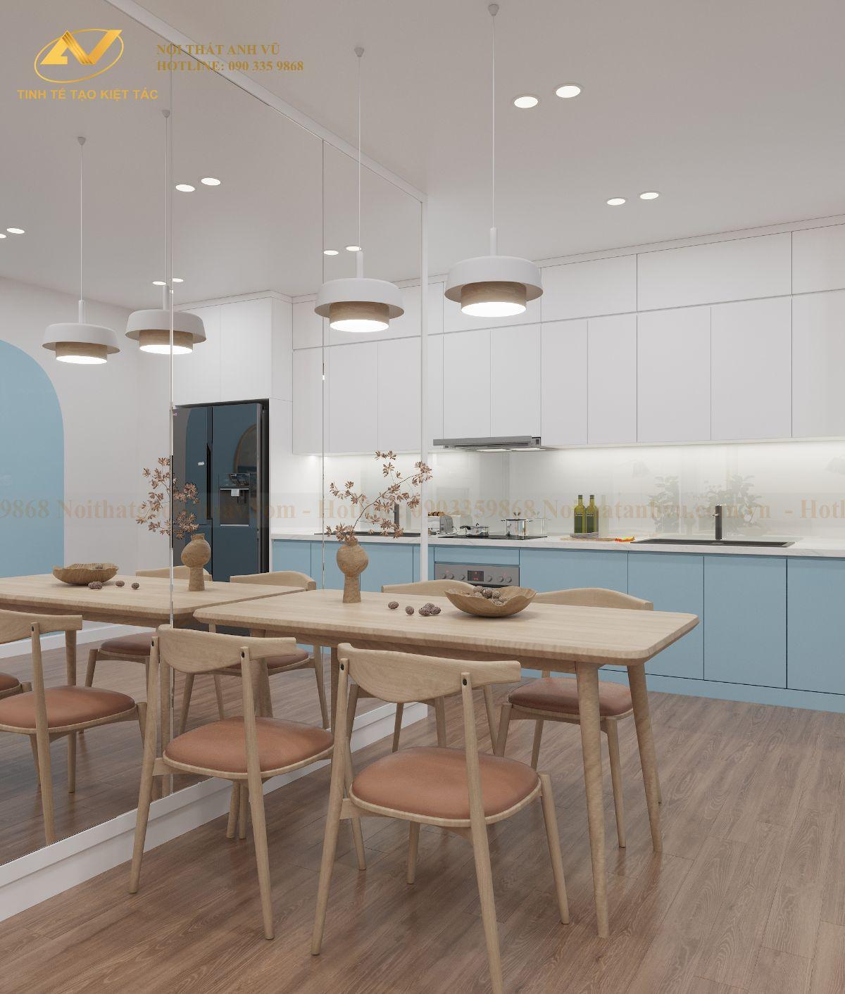 Thiết kế nội thất chung cư 68m2 Anh Cường K35 Tân Mai phong ăn 2